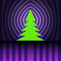 Christmas tree silhouette on violet curtain Stock Image