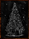 Christmas tree sketch on blackboard wallpaper holiday Royalty Free Stock Photos