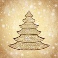 Christmas tree sketch on vintage background hand drawn grunge with snow vector illustration Royalty Free Stock Images