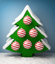Christmas tree with snow d render Stock Image