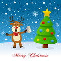 Christmas Tree, Snow & Drunk Reindeer Royalty Free Stock Photo
