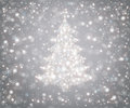 Christmas tree from snowflakes falling snow and stars Stock Images