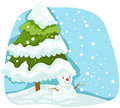 Christmas tree with snowman Stock Photo