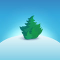 Christmas Tree on Snowy Hill Royalty Free Stock Photo