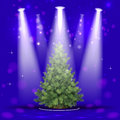 Christmas tree in the spotlight beautiful card for new year Royalty Free Stock Photography