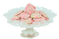 Christmas tree spritz cookies homemade shaped in a fluted pedestal glass dish Royalty Free Stock Photo