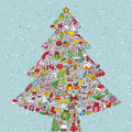 Christmas tree square card made collection small christmas icons objects isolated group version illustration eps mode Royalty Free Stock Photos