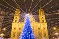 Christmas Tree in St. Stephen's Basilica Square, Budapest, Hunga Royalty Free Stock Photo