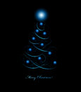 Christmas tree with star on a black background ai eps file contains transparency effects and gradient mesh Royalty Free Stock Image