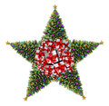 Christmas tree star concept as a group of decorated trees with natural green pine and ornate decorative balls and gifts Royalty Free Stock Photography