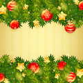 Christmas tree, stars and festive balls card Royalty Free Stock Photo