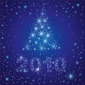 Christmas tree from stars on the sky Stock Photo