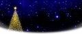 Christmas tree on stars sky background. Royalty Free Stock Photo