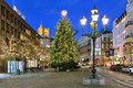 Christmas Tree on Stortorget Square of Helsingborg in the evening