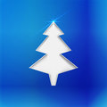 Christmas tree stylized cut in glossy blue paper with light on top background Stock Images