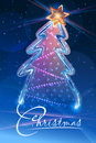 Christmas tree stylized frozen and shining star Royalty Free Stock Image