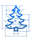 Christmas tree symbol with dimension lines element of blueprint drawing in shape of pine qualitative vector eps design element for Stock Photos