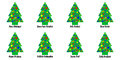 Christmas tree tags or stickers whimsical with a greeting in various languages languages include english italian french german Stock Photos
