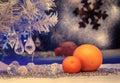 Christmas tree tangerine vintage retro old style image mandarin orange on the background of the winter window holiday blue light Royalty Free Stock Photo