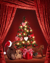 Christmas tree with teddy bear Stock Images