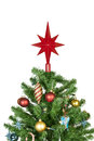 Christmas tree top with ornaments Stock Image