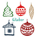 Christmas tree toys. doodle set with tree, house and balls. vector art illustration icon.