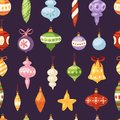 Christmas tree toys vector decorations balls, circle, stars, bells for decorate New Year Xmas tree brances illustration Royalty Free Stock Photo