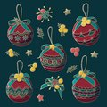 Vector decorative Christmas tree toys with bows, stars and berries