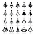 Christmas tree - various types icons set