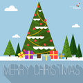 Christmas tree vector greeting card. Royalty Free Stock Photo