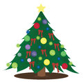 Christmas tree vector illustration of tall green Royalty Free Stock Photo