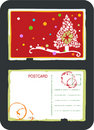 Christmas tree vector postcard Royalty Free Stock Photos