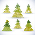 Christmas tree vector set, hand drawn lines textures