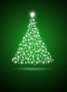 Christmas tree from white balls on dark green background Stock Images