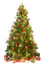 Christmas tree on white beautiful isolated with gifts and ornaments Royalty Free Stock Image