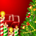 Christmas tree with Wine Glass Royalty Free Stock Photography