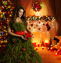 Christmas Tree Woman Dress, Fashion Girl Xmas Creative Gown Royalty Free Stock Photo