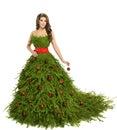 Christmas Tree Woman Dress, Fashion Model on White, Xmas Girl Royalty Free Stock Photo