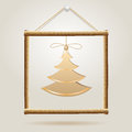 Christmas Tree in wood frame Royalty Free Stock Image