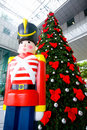 Christmas tree and wooden soldier decoration Royalty Free Stock Photo