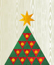 Christmas tree wooden textured shape greeting card Royalty Free Stock Image