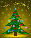 Christmas tree on yellow background Stock Photos