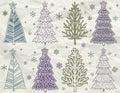Christmas trees on beije crumple background Royalty Free Stock Photo