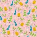 Christmas Trees and Bells Seamless Pattern Royalty Free Stock Photos