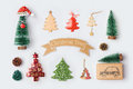 Christmas trees collection for mock up template design. View from above. Royalty Free Stock Photo