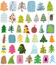 Christmas trees doodle collection set different trees colours objects isolated group version illustration eps mode Stock Images