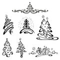 Christmas trees firs vector set snow and gifts Stock Image