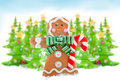 Christmas trees and gingerbread man Stock Image