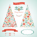 Christmas trees and graphic elements vector Stock Photos