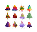 Christmas trees isolated on a white background